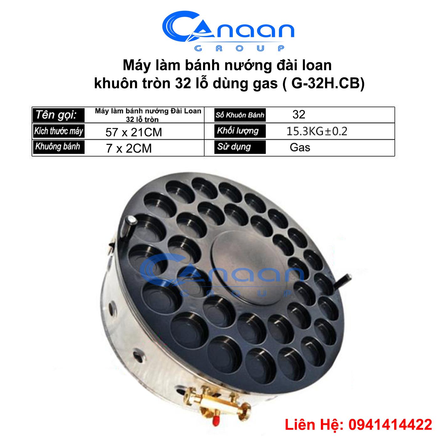 máy bánh nướng Đài Loan dùng gas -32 lỗ tròn tráng men chống dính