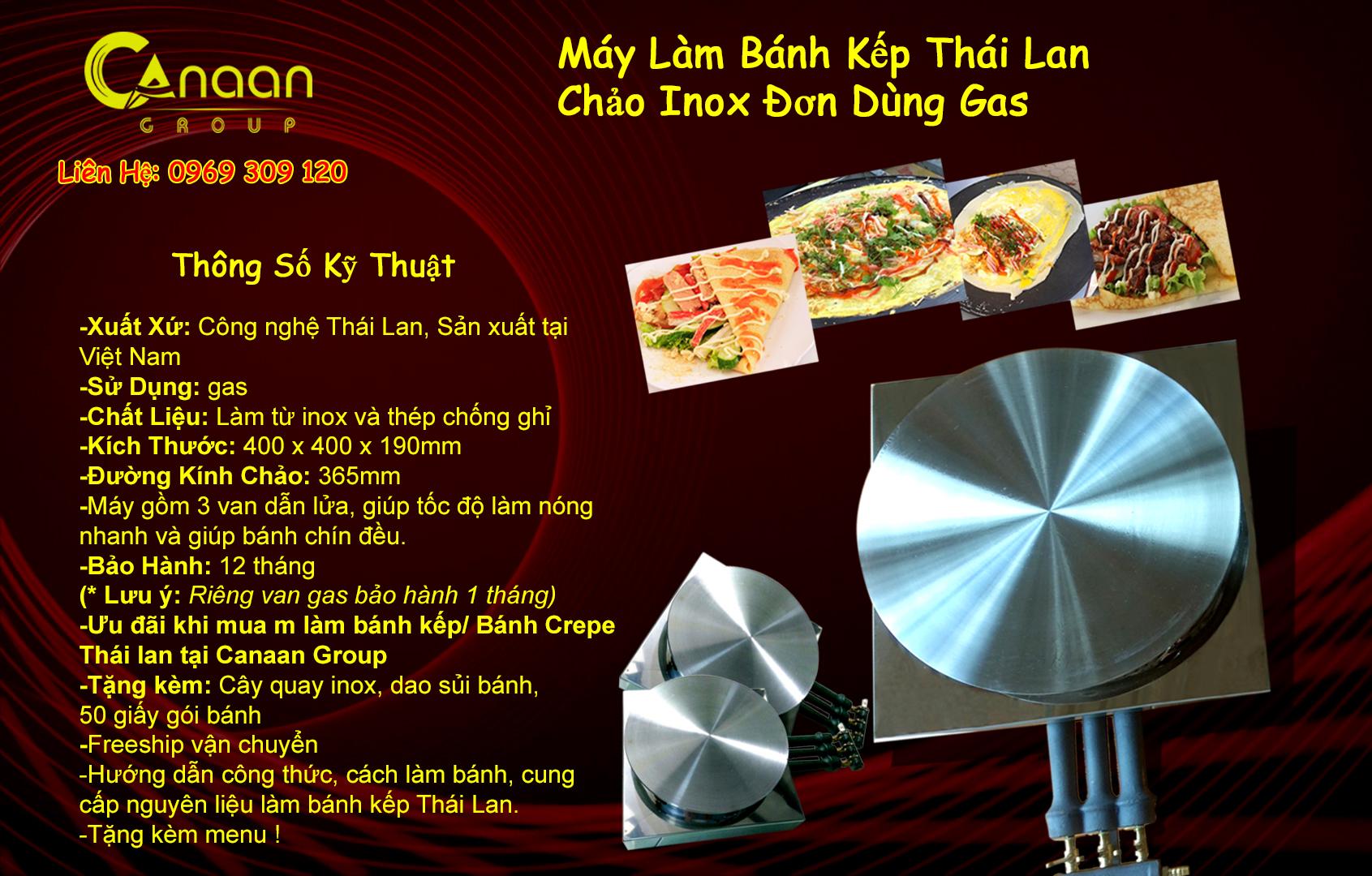 Máy làm bánh kếp Thái Lan Chảo Đơn Inox Dùng Gas